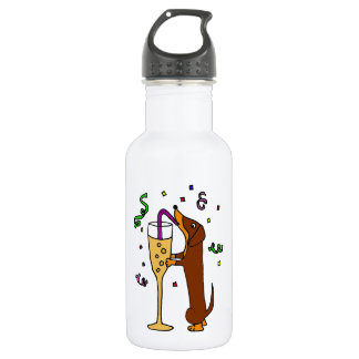Funny Dachshund Dog Party Cartoon Stainless Steel Water Bottle