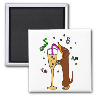 Funny Dachshund Drinking Champagne 2 Inch Square Magnet