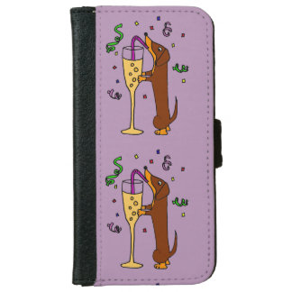 Funny Dachshund Drinking Champagne Wallet Phone Case For iPhone 6/6s