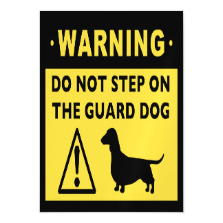 Funny Dachshund Guard Dog Warning Magnetic Invitations