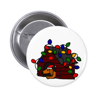 Funny Dachshund in Christmas Doghouse Button