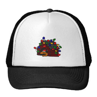 Funny Dachshund in Christmas Doghouse Trucker Hat