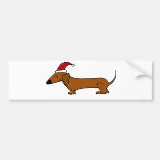 Funny Dachshund in Santa Hat Christmas Cartoon Bumper Sticker