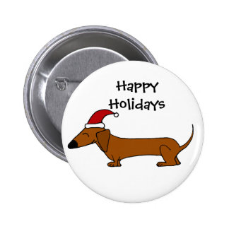 Funny Dachshund in Santa Hat Christmas Cartoon Pinback Button