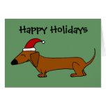 Funny Dachshund in Santa Hat Christmas Cartoon Card