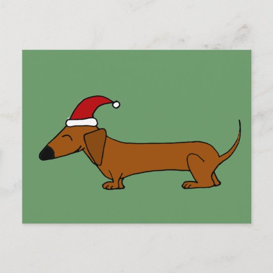 8a83eec35ea Funny Dachshund in Santa Hat Christmas Cartoon Holiday Postcard ...
