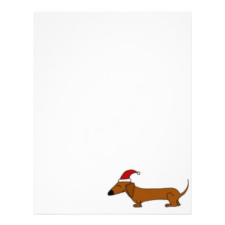 Funny Dachshund in Santa Hat Christmas Cartoon Letterhead