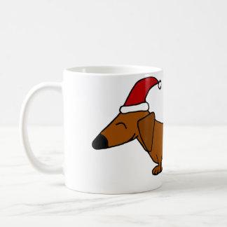 Funny Dachshund in Santa Hat Christmas Cartoon Coffee Mug