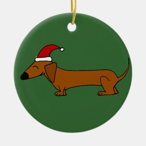 Funny Dachshund in Santa Hat Christmas Cartoon Double-Sided Ceramic Round Christmas Ornament