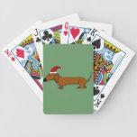 Funny Dachshund in Santa Hat Christmas Cartoon Poker Cards