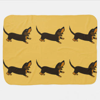 Funny Dachshund Playful Puppy Dog Stroller Blanket
