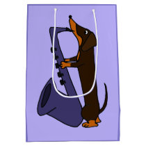 Funny Dachshund Playing Saxophone Gift Bag