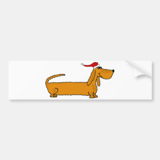 Funny Dachshund Puppy Dog in Santa Hat Christmas Bumper Sticker