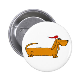 Funny Dachshund Puppy Dog in Santa Hat Christmas Pinback Button