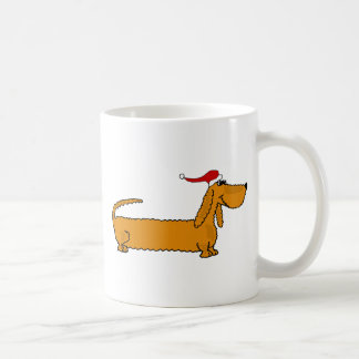Funny Dachshund Puppy Dog in Santa Hat Christmas Coffee Mugs