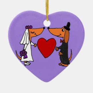 Funny Dachshund Puppy Dogs Bride and Groom Wedding Ceramic Ornament