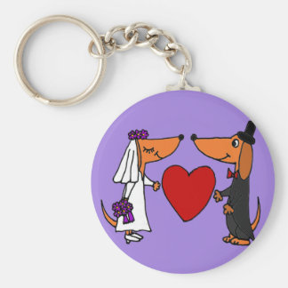 Funny Dachshund Puppy Dogs Bride and Groom Wedding Key Chain