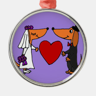 Funny Dachshund Puppy Dogs Bride and Groom Wedding Metal Ornament