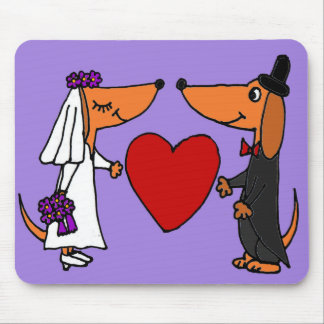 Funny Dachshund Puppy Dogs Bride and Groom Wedding Mouse Pad