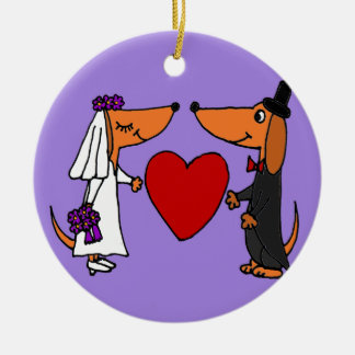 Funny Dachshund Puppy Dogs Bride and Groom Wedding Christmas Tree Ornaments