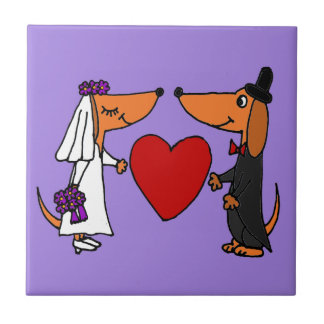 Funny Dachshund Puppy Dogs Bride and Groom Wedding Ceramic Tile