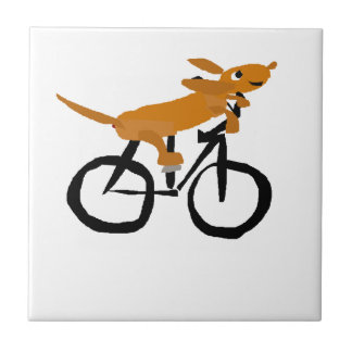 Funny Dachshund Riding Bicycle Tile