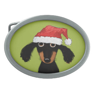 Funny Dachshund Santa Clause Christmas Belt Buckle