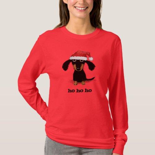 Funny Dachshund Santa Clause Holiday Wiener Dog T_Shirt