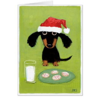 Funny Dachshund Santa with Milk and Cookies Christmas card
