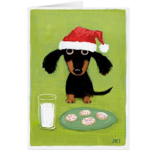 milk and cookies dachshund christmas card