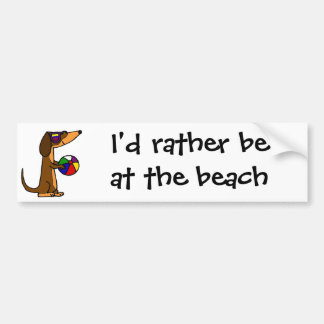 Funny Dachshund with Beach Ball Bumper Sticker