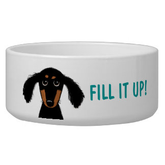Funny Dachshund with Custom Text Bowl