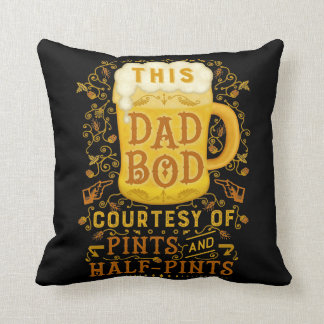 Funny Dad Bod Beer Pints Joke Fathers Day Humor Throw Pillow