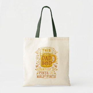 Funny Dad Bod Beer Pints Vintage Fathers Day Humor Tote Bag
