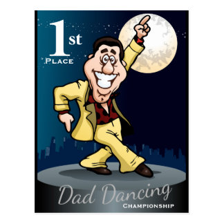 Funny Dad Dancing Winner Postcard