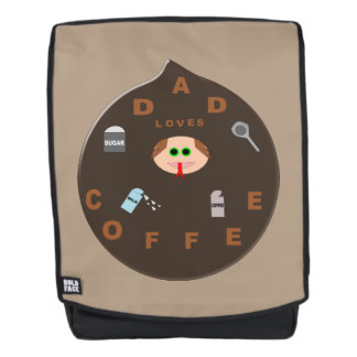 Funny Dad Monster Loves Coffee Backpack