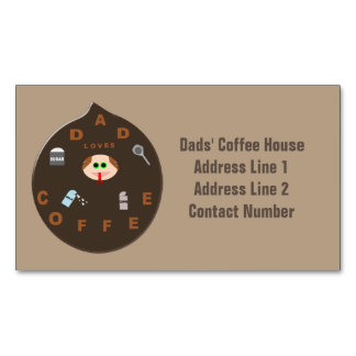 Funny Dad Monster Loves Coffee Business Magnet Magnetic Business Cards (Pack Of 25)