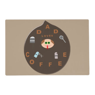 Funny Dad Monster Loves Coffee Custom Placemat