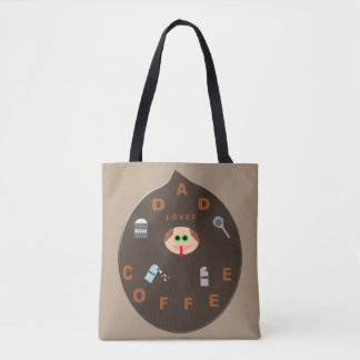 Funny Dad Monster Loves Coffee Custom Tote Bag