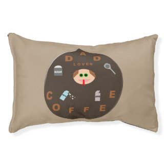 Funny Dad Monster Loves Coffee Dog Bed