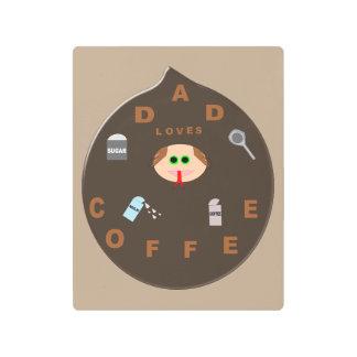 Funny Dad Monster Loves Coffee Metal Wall Art