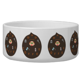 Funny Dad Monster Loves Coffee Pet Bowl