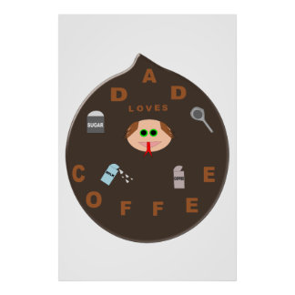Funny Dad Monster Loves Coffee Poster