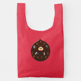 Funny Dad Monster Loves Coffee Reusable Bag