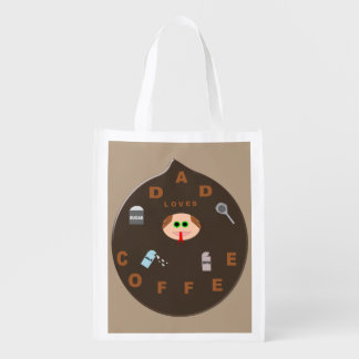 Funny Dad Monster Loves Coffee Reusable Bag Grocery Bags
