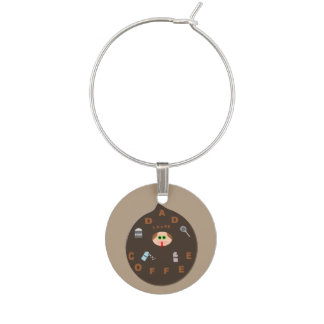 Funny Dad Monster Loves Coffee Wine Charm