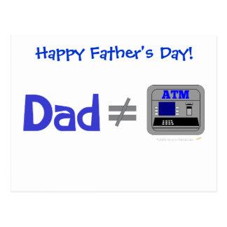 Funny Dad Not Equal ATM Postcard