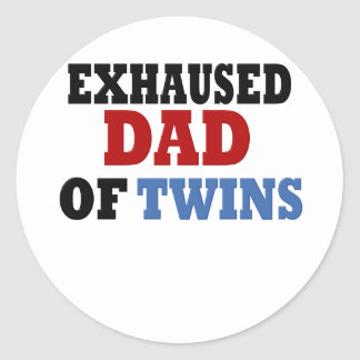 Funny Dad of Twins Classic Round Sticker