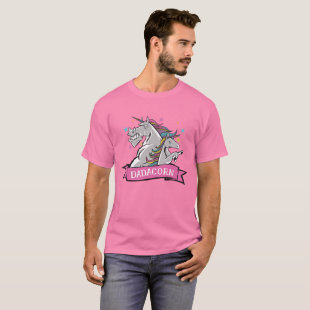 Funny Dadacorn Unicorn Dad Fathers Day Pink T-Shirt