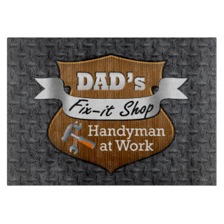 Funny Dad's Fix-it Shop Handy Man Father's Day Cutting Board